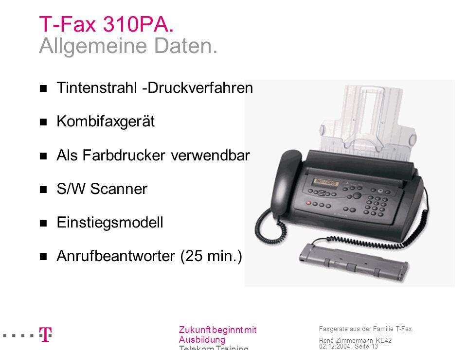 T-Fax 310PA. Allgemeine Daten.