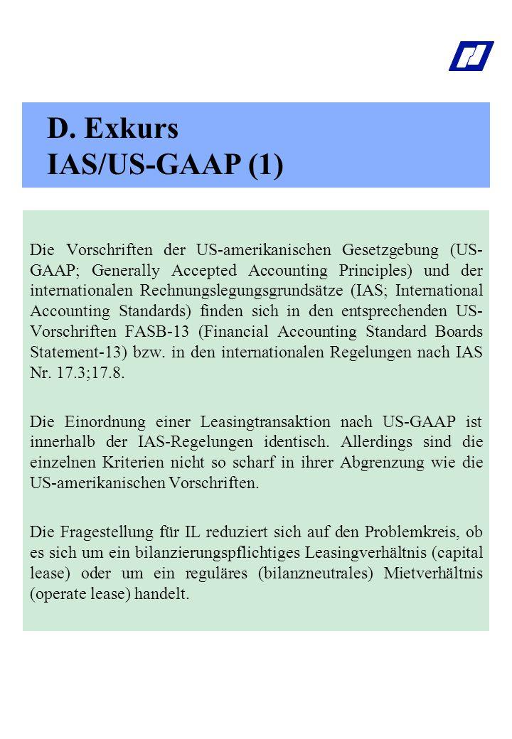 D. Exkurs IAS/US-GAAP (1)