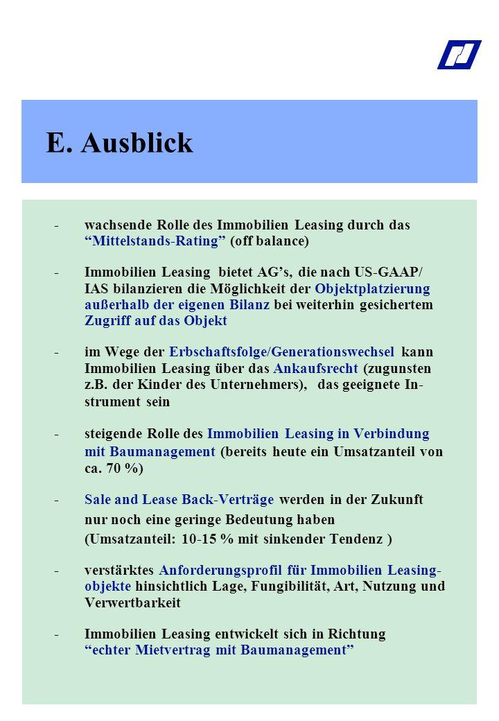 E. Ausblick - wachsende Rolle des Immobilien Leasing durch das Mittelstands-Rating (off balance)