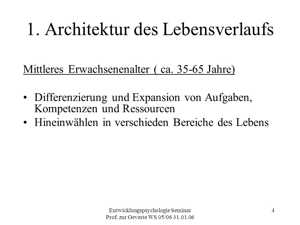 1. Architektur des Lebensverlaufs