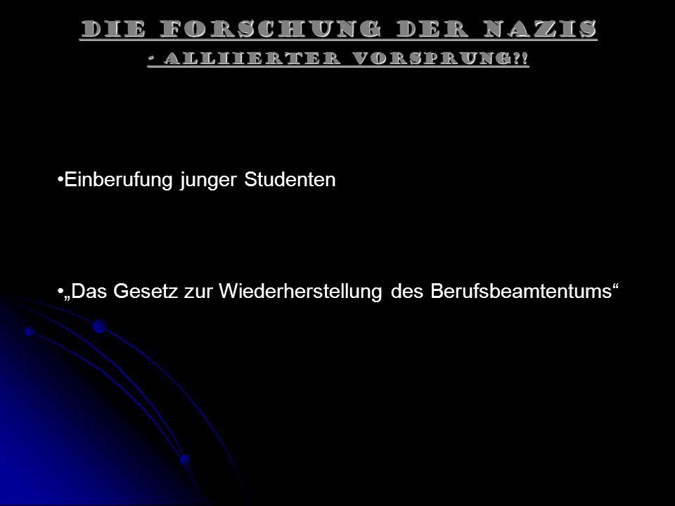 Die Forschung der Nazis