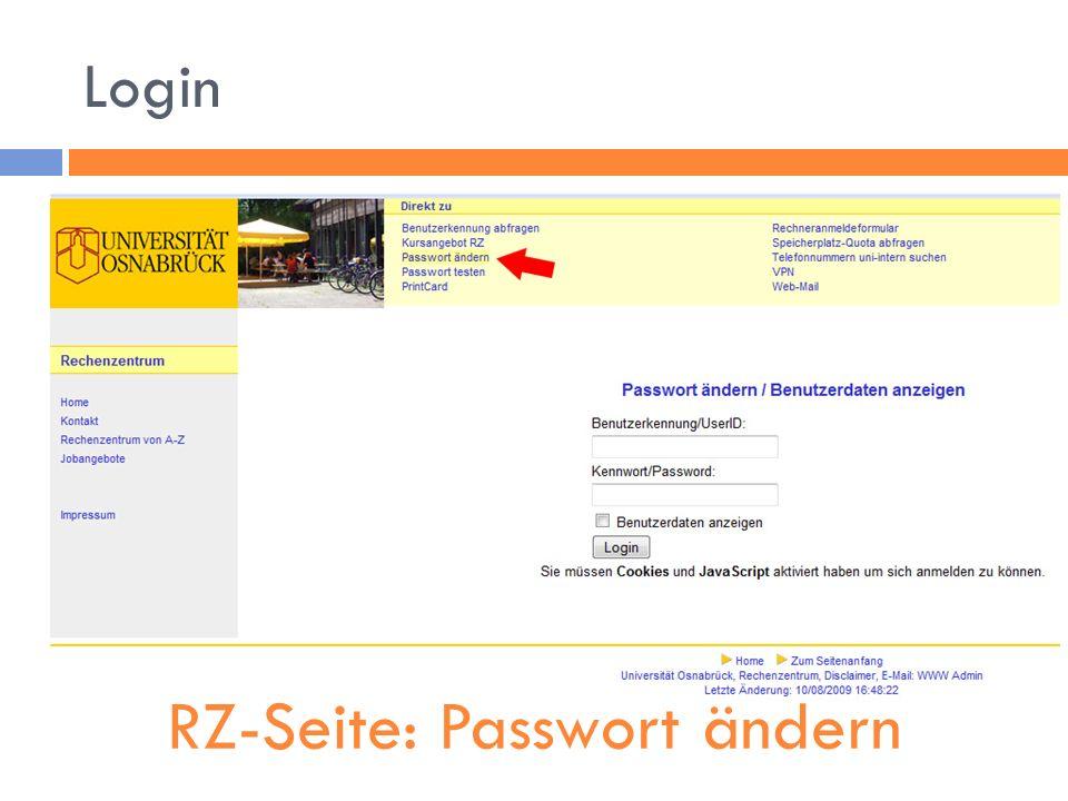 RZ-Seite: Passwort ändern