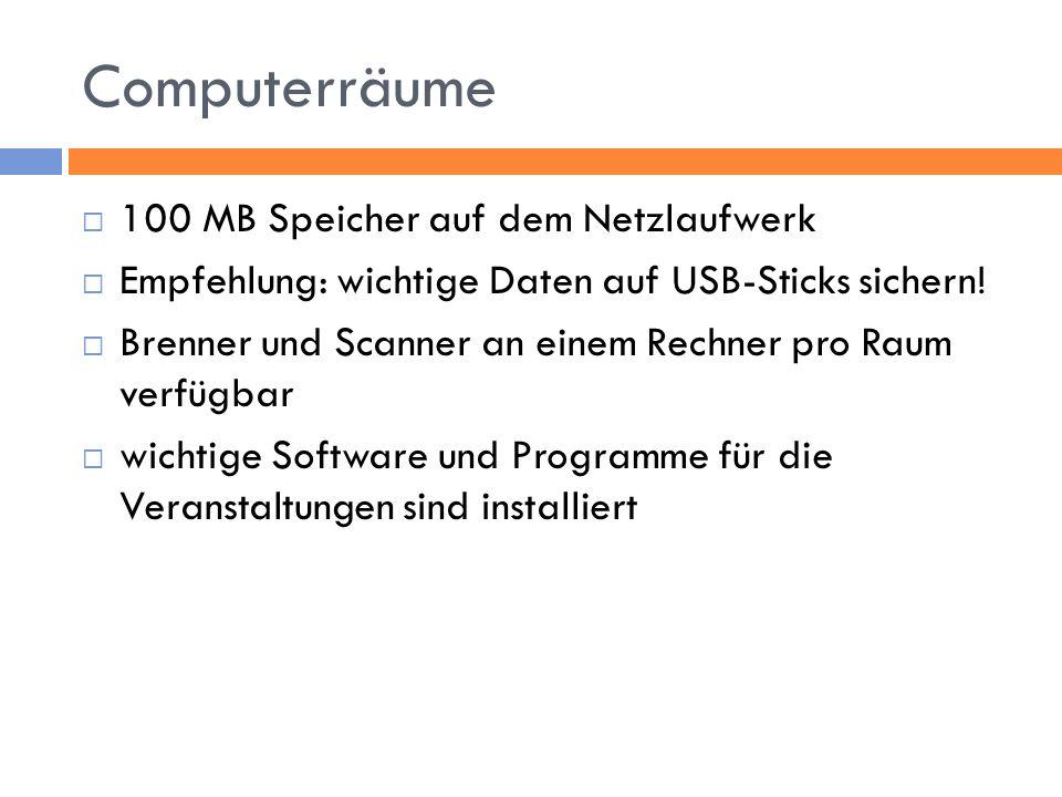 Computerräume 100 MB Speicher auf dem Netzlaufwerk