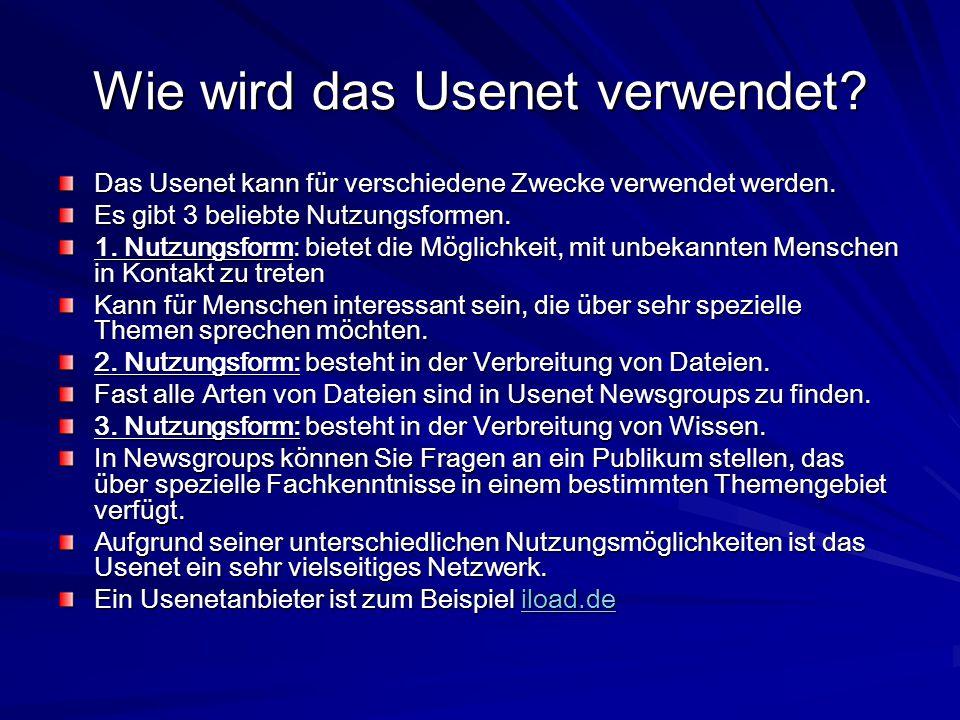Wie wird das Usenet verwendet