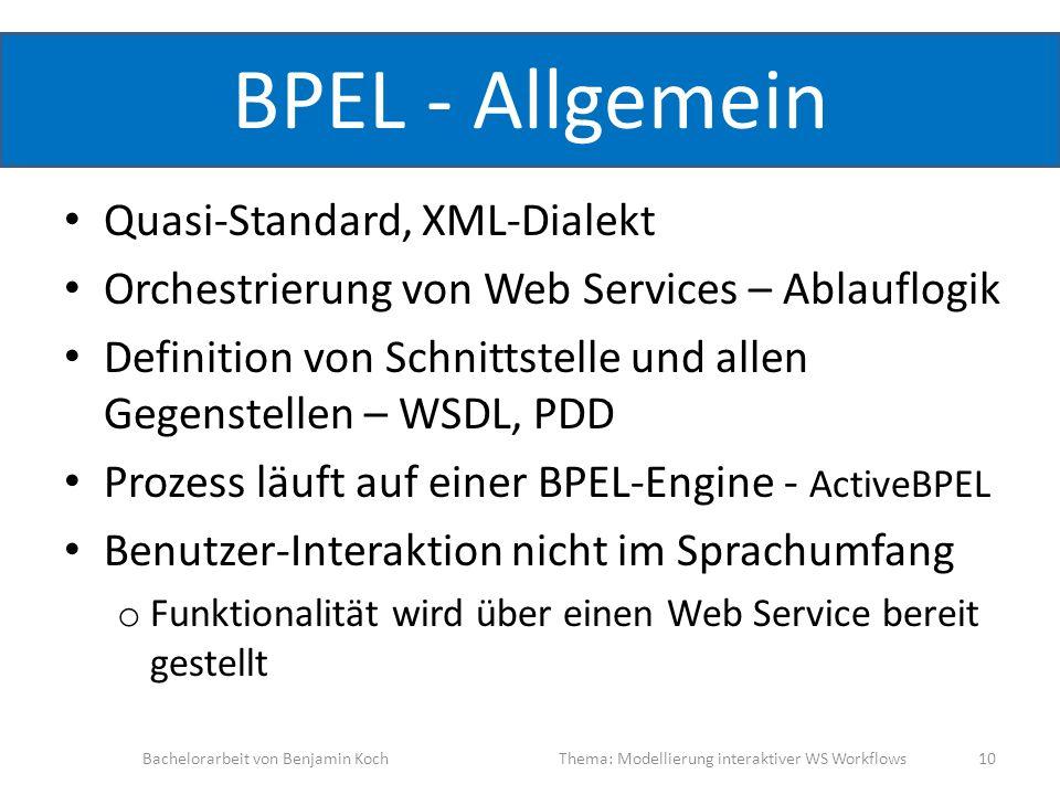 BPEL - Allgemein Quasi-Standard, XML-Dialekt