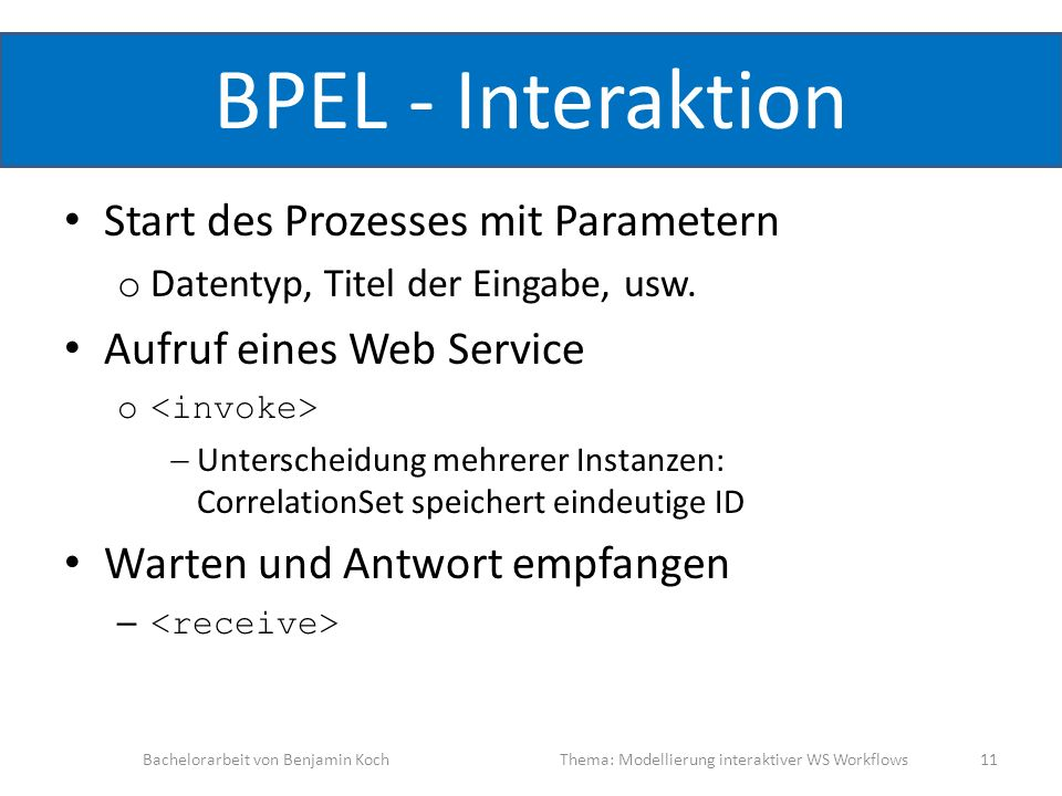 BPEL - Interaktion Start des Prozesses mit Parametern