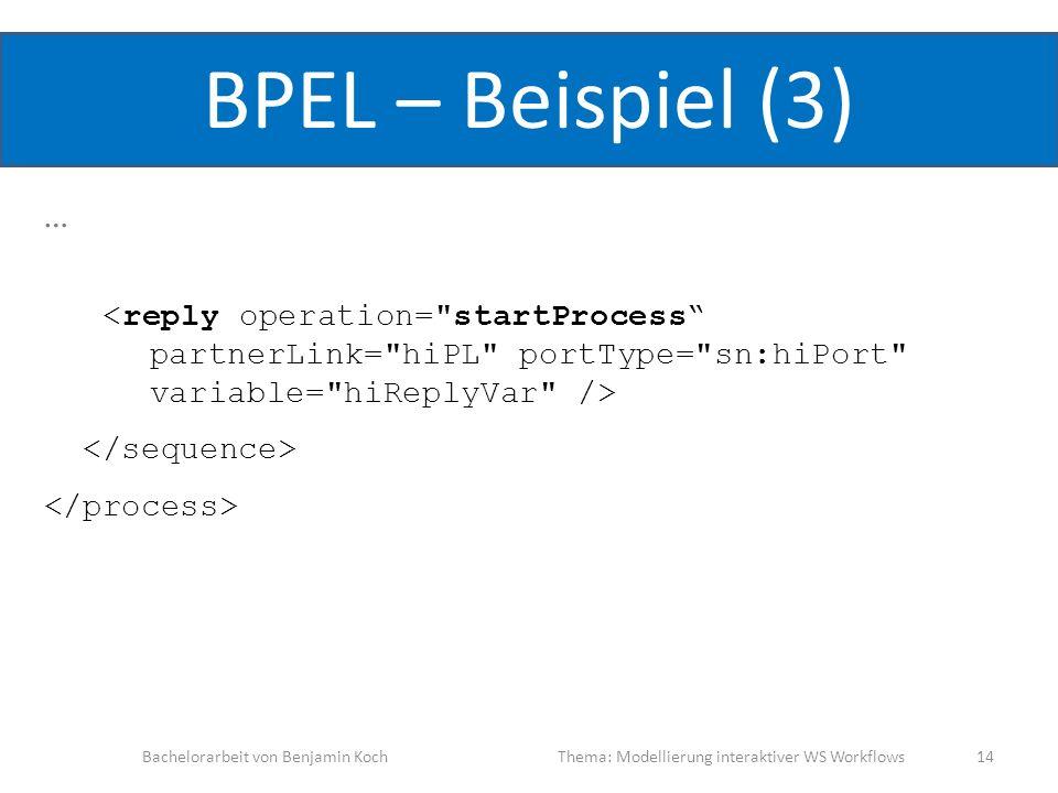 BPEL – Beispiel (3) … <reply operation= startProcess partnerLink= hiPL portType= sn:hiPort variable= hiReplyVar />