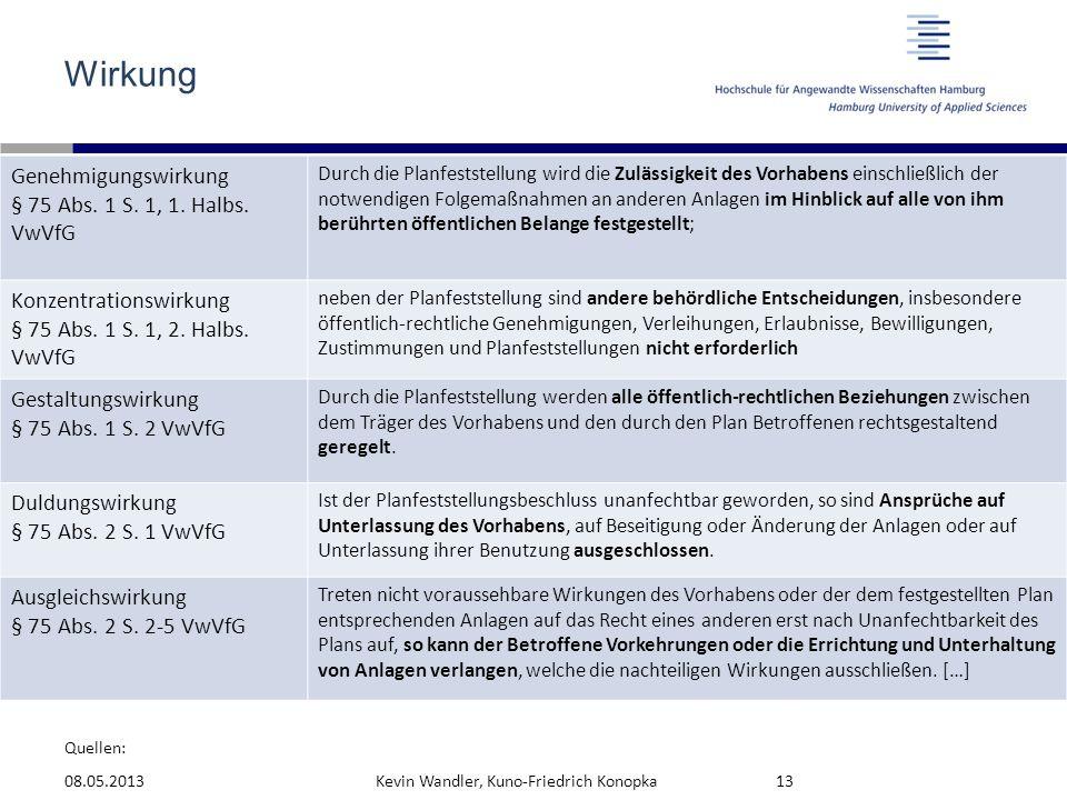Wirkung Genehmigungswirkung § 75 Abs. 1 S. 1, 1. Halbs. VwVfG