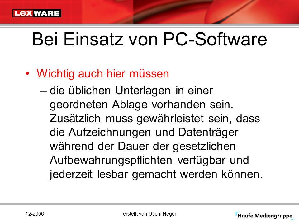 Bei Einsatz von PC-Software