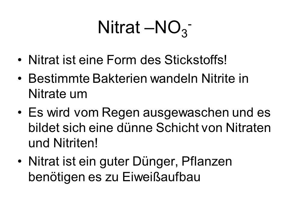 Nitrat –NO3- Nitrat ist eine Form des Stickstoffs!