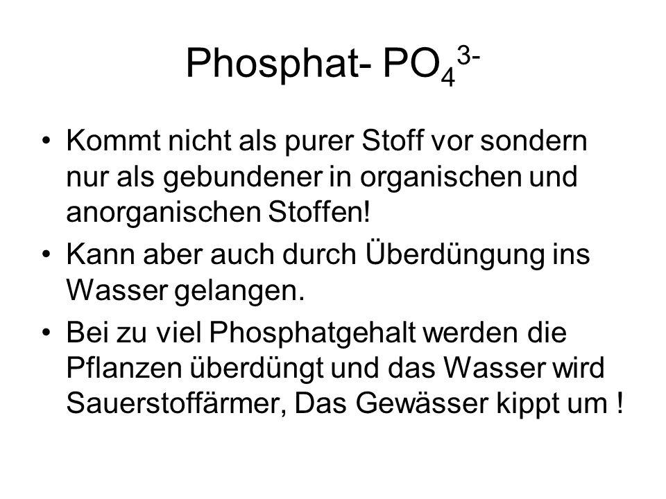 Phosphat- PO43- Kommt nicht als purer Stoff vor sondern nur als gebundener in organischen und anorganischen Stoffen!