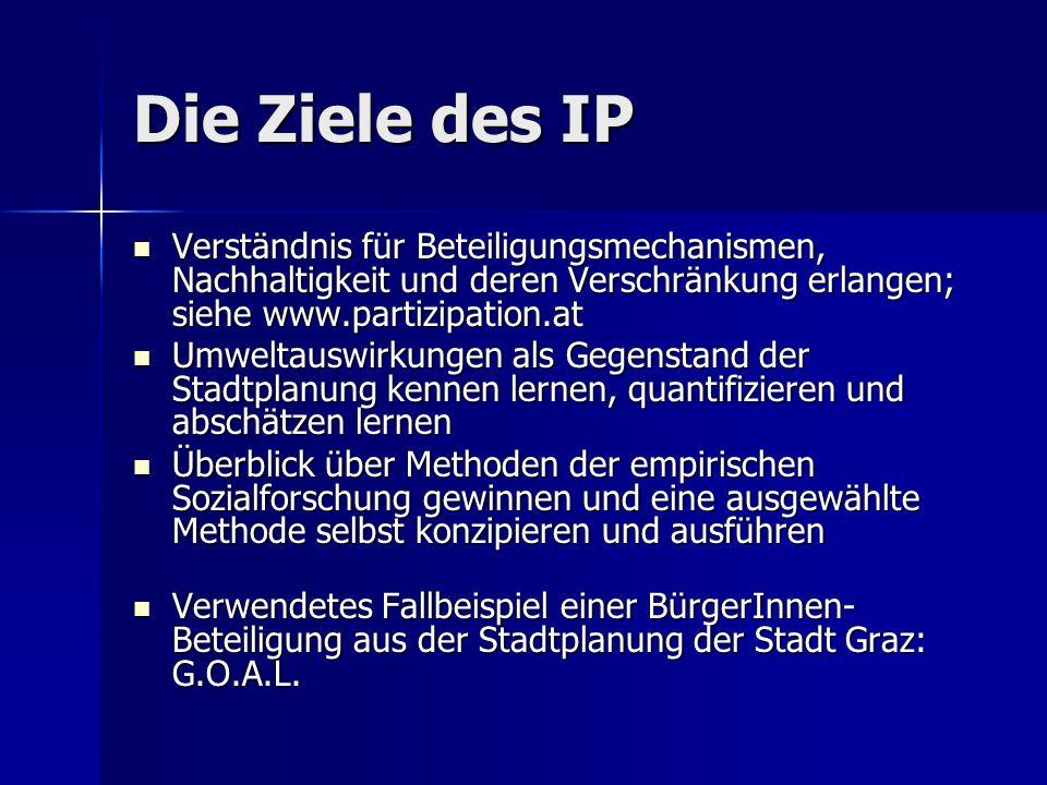 Die Ziele des IP Verständnis für Beteiligungsmechanismen, Nachhaltigkeit und deren Verschränkung erlangen; siehe www.partizipation.at.