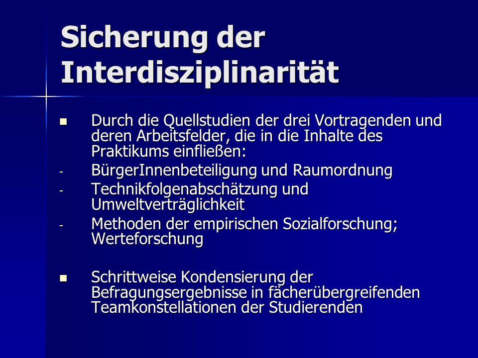 Sicherung der Interdisziplinarität
