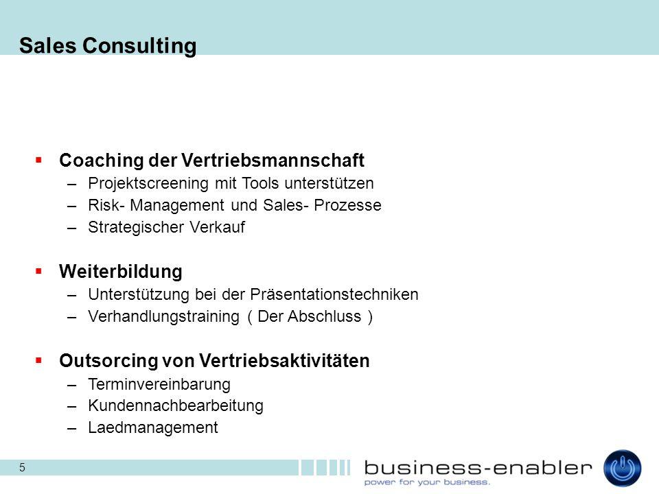 Sales Consulting Coaching der Vertriebsmannschaft Weiterbildung