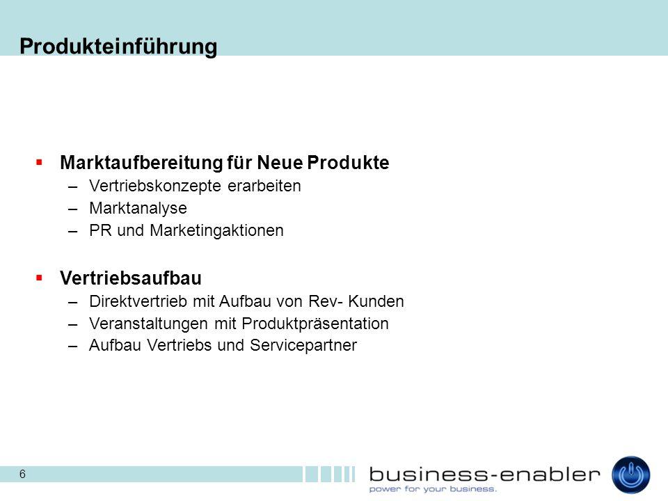 Produkteinführung Marktaufbereitung für Neue Produkte Vertriebsaufbau