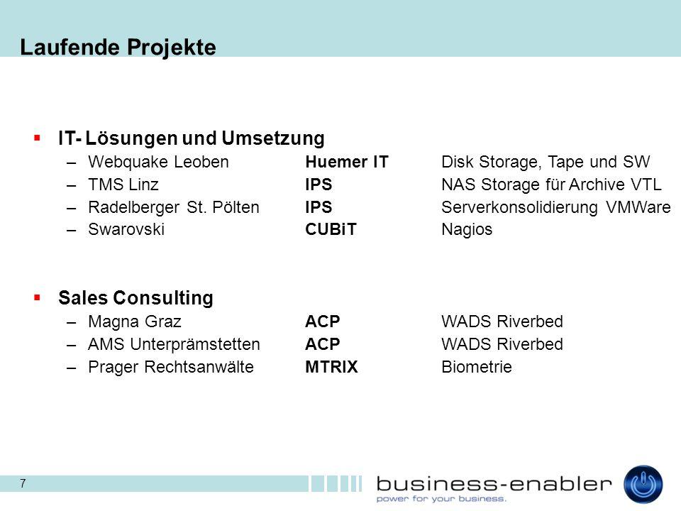 Laufende Projekte IT- Lösungen und Umsetzung Sales Consulting