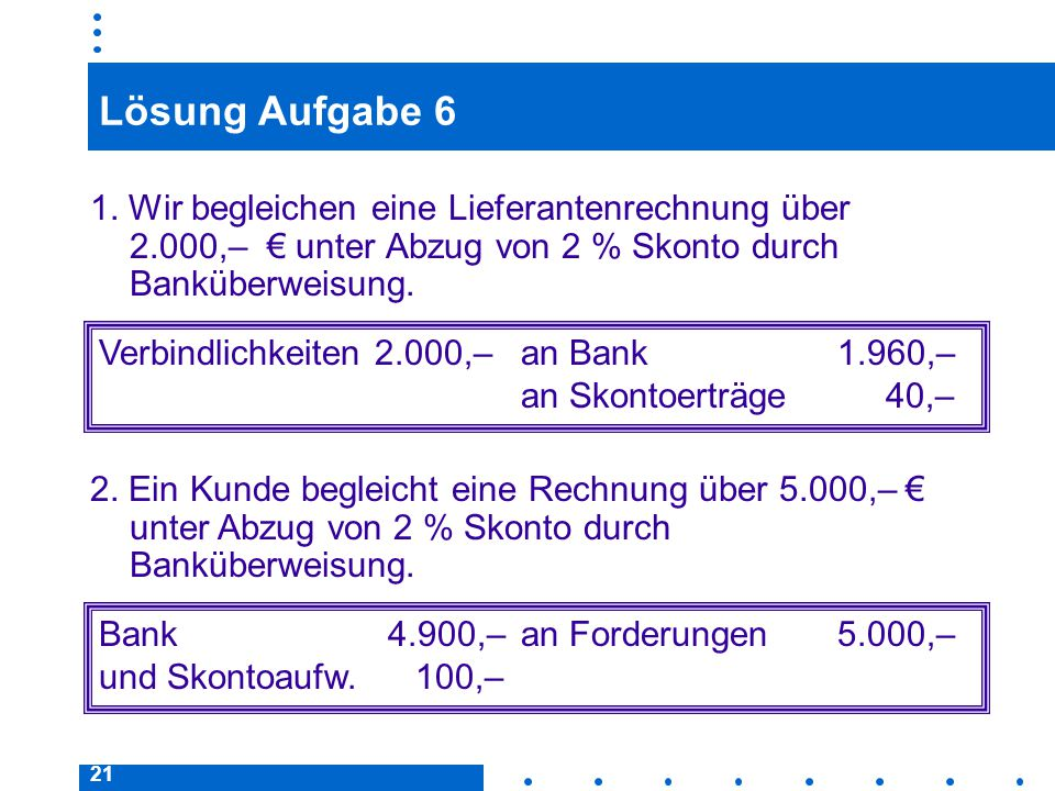Lösung Aufgabe 6 1. Wir begleichen eine Lieferantenrechnung über 2.000,– € unter Abzug von 2 % Skonto durch Banküberweisung.