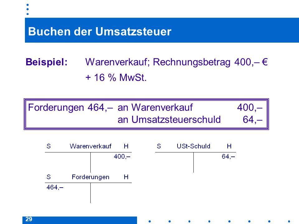 Buchen der Umsatzsteuer