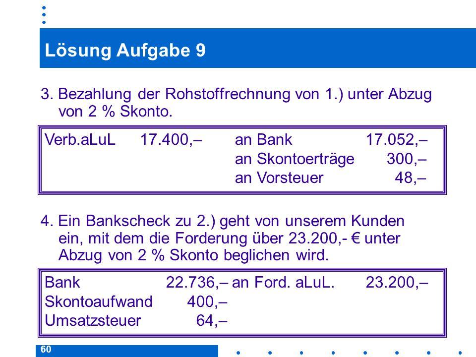 Lösung Aufgabe 9 3. Bezahlung der Rohstoffrechnung von 1.) unter Abzug von 2 % Skonto.