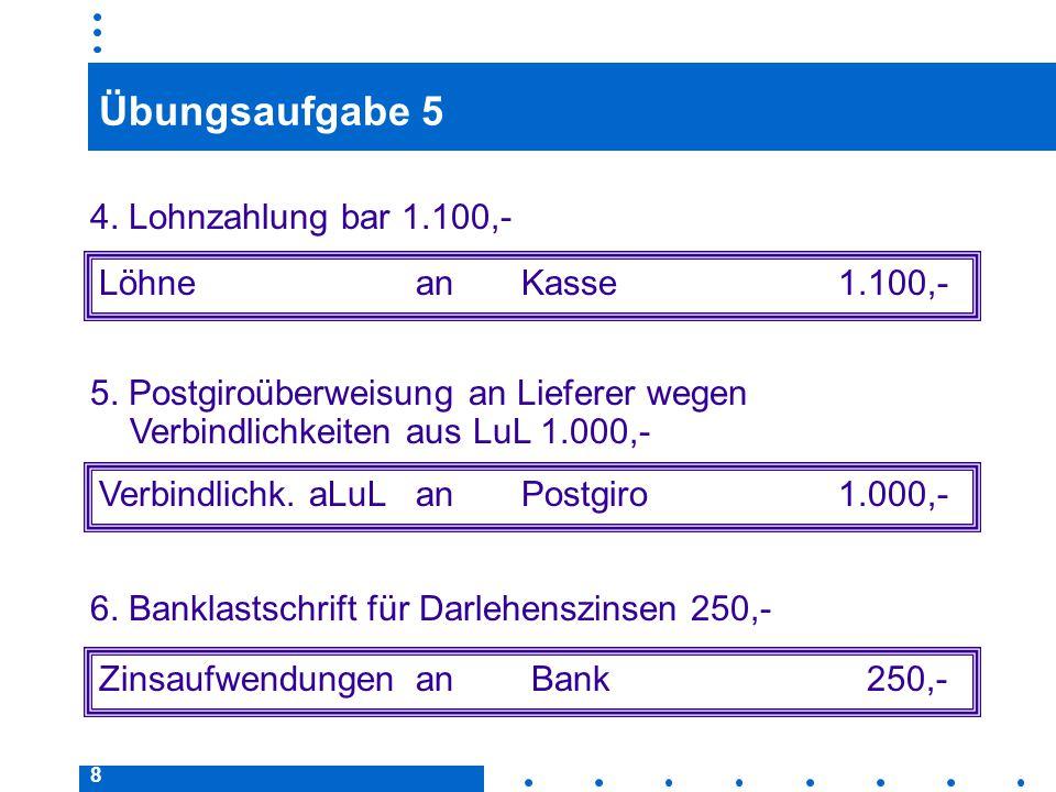 Übungsaufgabe 5 4. Lohnzahlung bar 1.100,- Löhne an Kasse 1.100,-