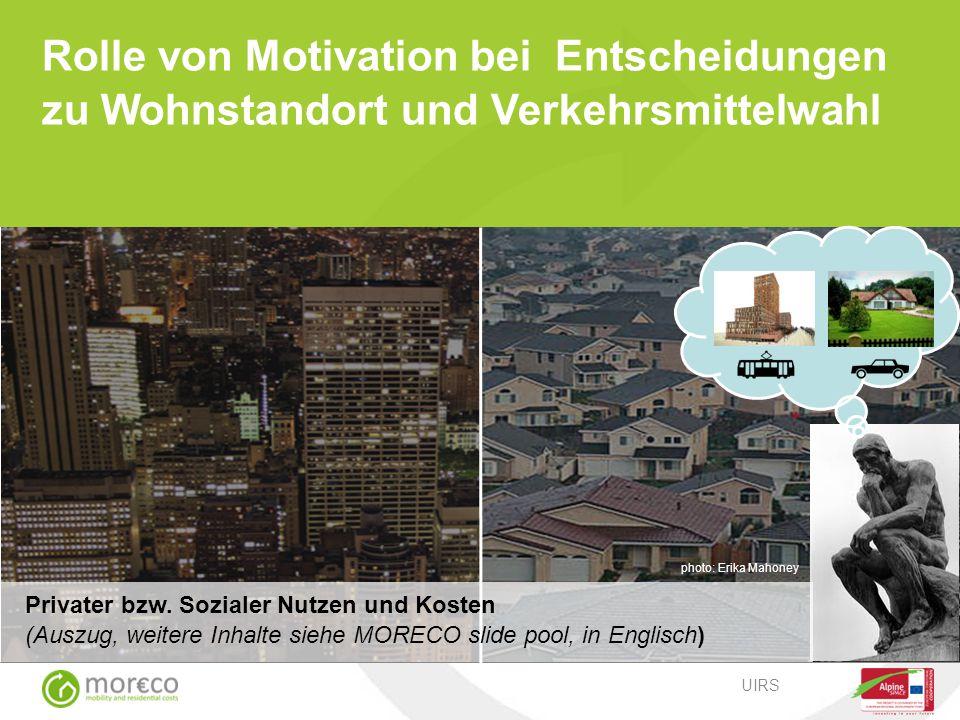 Rolle von Motivation bei Entscheidungen zu Wohnstandort und Verkehrsmittelwahl