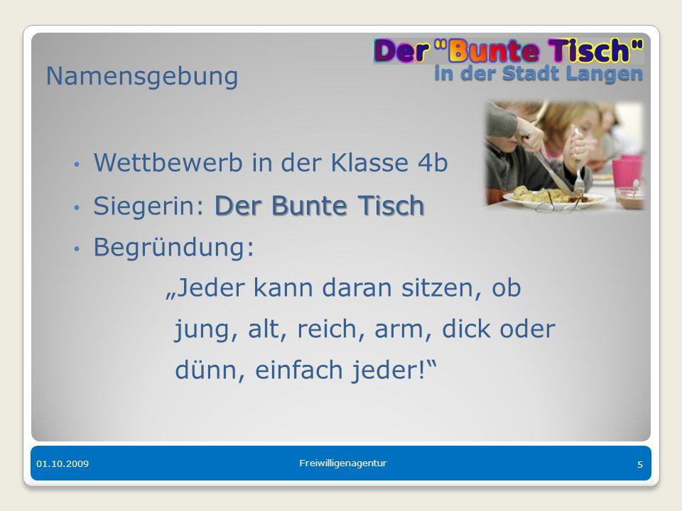 Wettbewerb in der Klasse 4b Siegerin: Der Bunte Tisch Begründung: