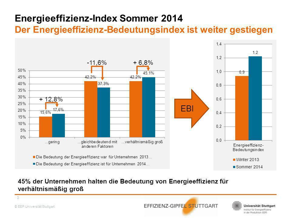 Energieeffizienz-Index Sommer 2014 Der Energieeffizienz-Bedeutungsindex ist weiter gestiegen