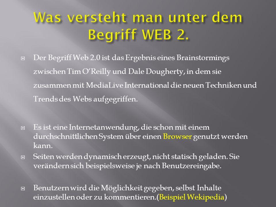 Was versteht man unter dem Begriff WEB 2.