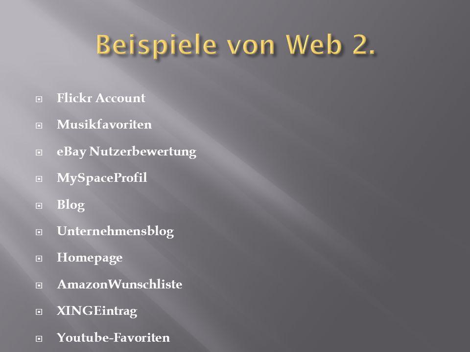 Beispiele von Web 2. Flickr Account Musikfavoriten