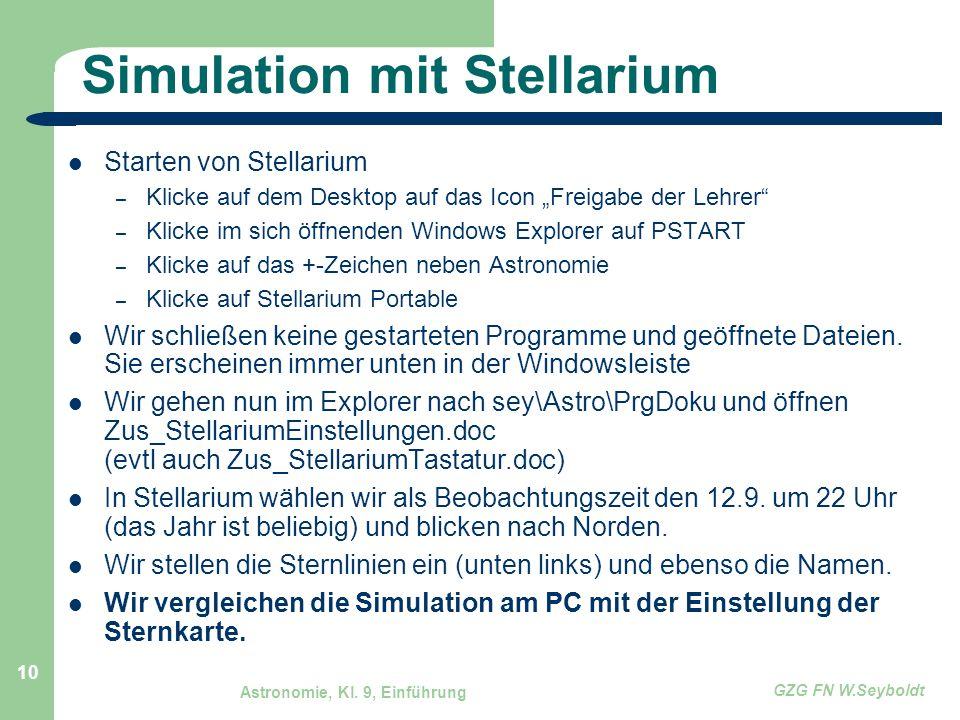 Simulation mit Stellarium