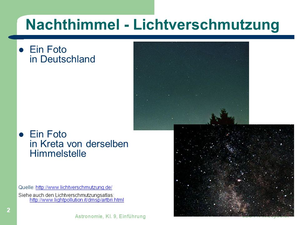 Nachthimmel - Lichtverschmutzung
