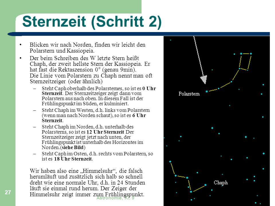 Sternzeit (Schritt 2) Blicken wir nach Norden, finden wir leicht den Polarstern und Kassiopeia.