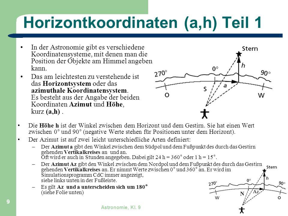 Horizontkoordinaten (a,h) Teil 1