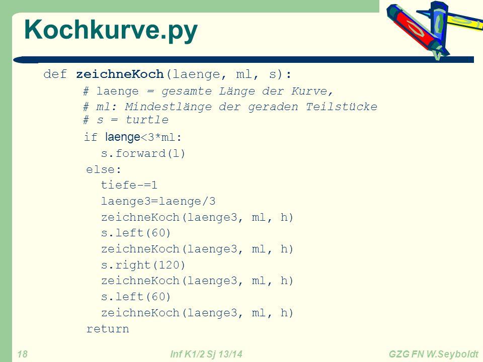Kochkurve.py def zeichneKoch(laenge, ml, s): if laenge<3*ml: