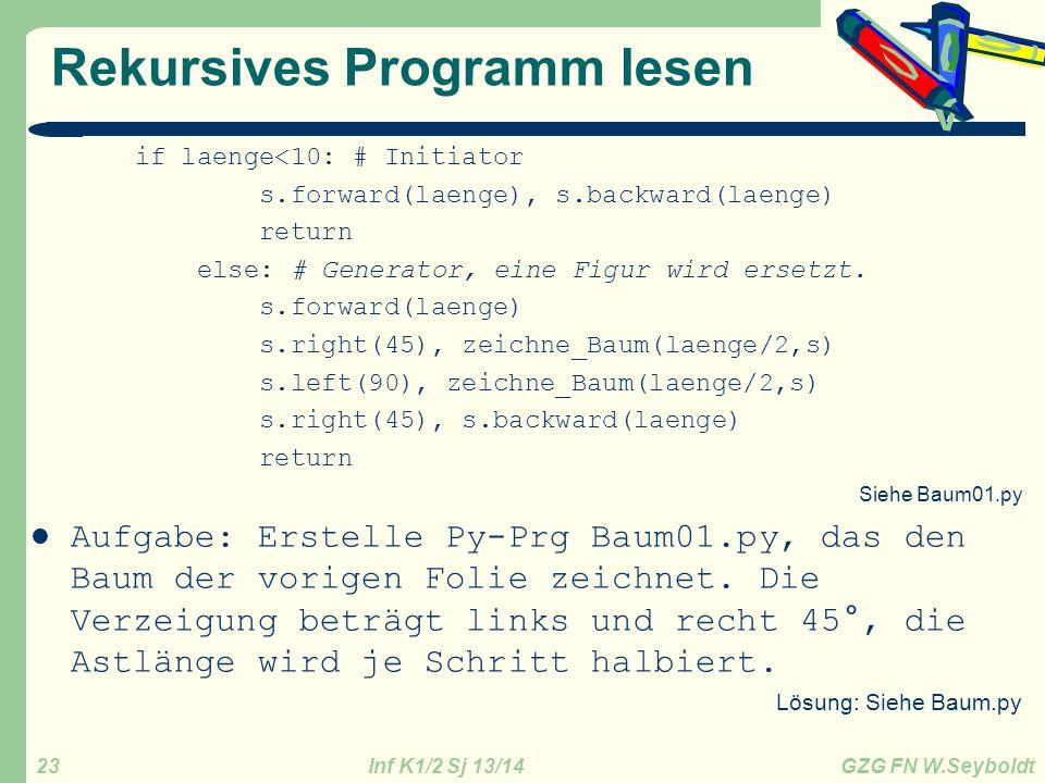 Rekursives Programm lesen
