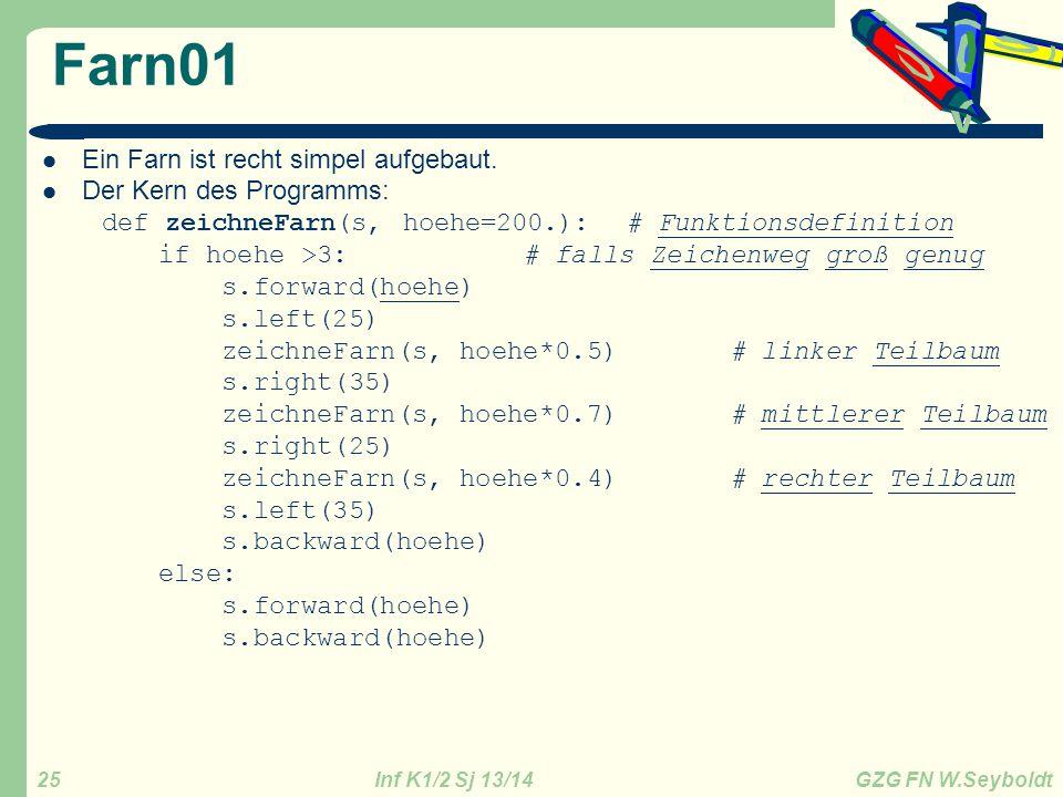 Farn01 Ein Farn ist recht simpel aufgebaut. Der Kern des Programms: