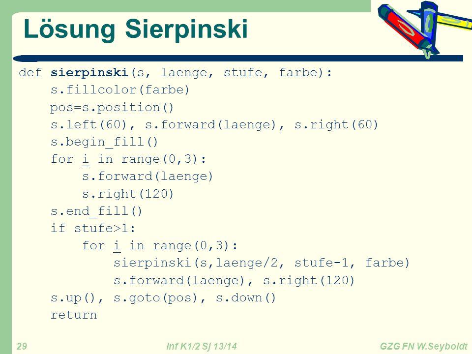 Lösung Sierpinski def sierpinski(s, laenge, stufe, farbe):