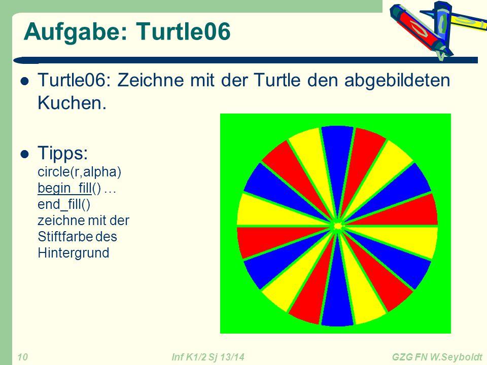 Aufgabe: Turtle06 Turtle06: Zeichne mit der Turtle den abgebildeten Kuchen.
