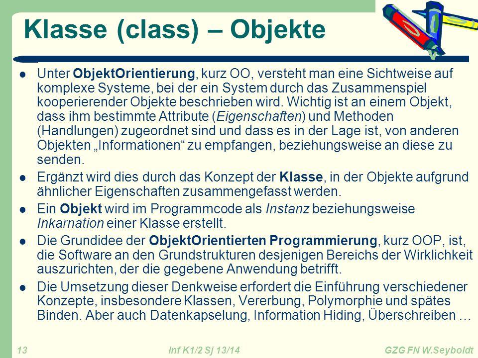 Klasse (class) – Objekte