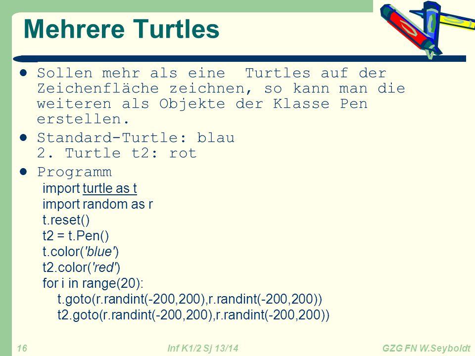 Mehrere Turtles Sollen mehr als eine Turtles auf der Zeichenfläche zeichnen, so kann man die weiteren als Objekte der Klasse Pen erstellen.