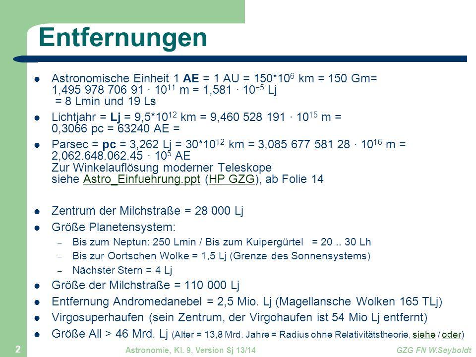 Entfernungen Astronomische Einheit 1 AE = 1 AU = 150*106 km = 150 Gm= 1,495 978 706 91 · 1011 m = 1,581 · 10−5 Lj = 8 Lmin und 19 Ls.