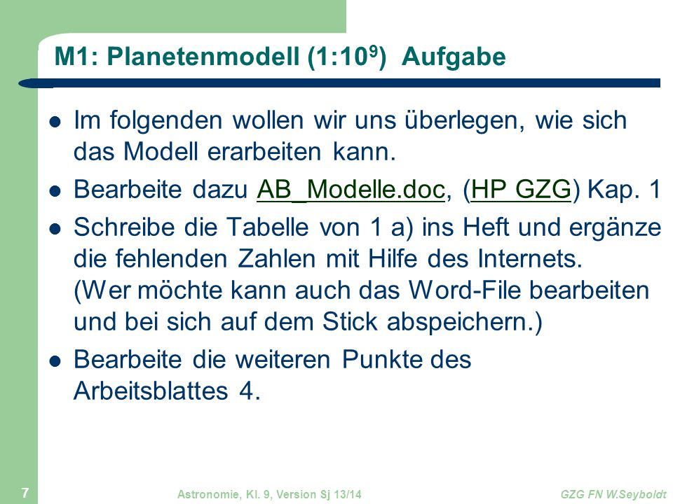 M1: Planetenmodell (1:109) Aufgabe