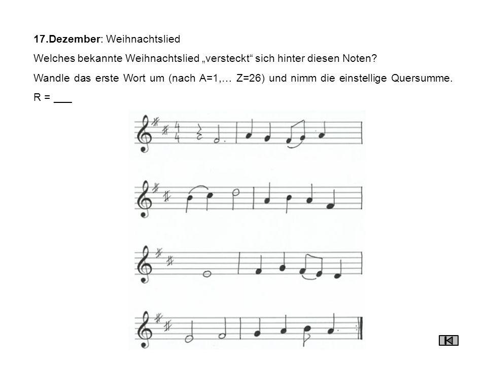 17.Dezember: Weihnachtslied