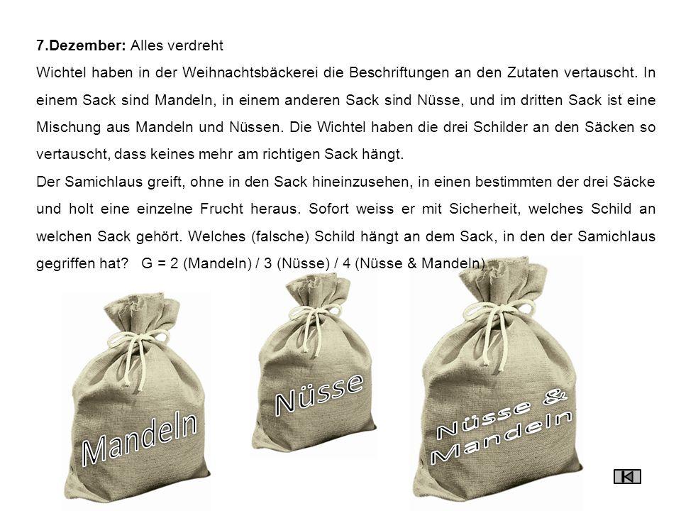 Nüsse Nüsse & Mandeln Mandeln 7.Dezember: Alles verdreht