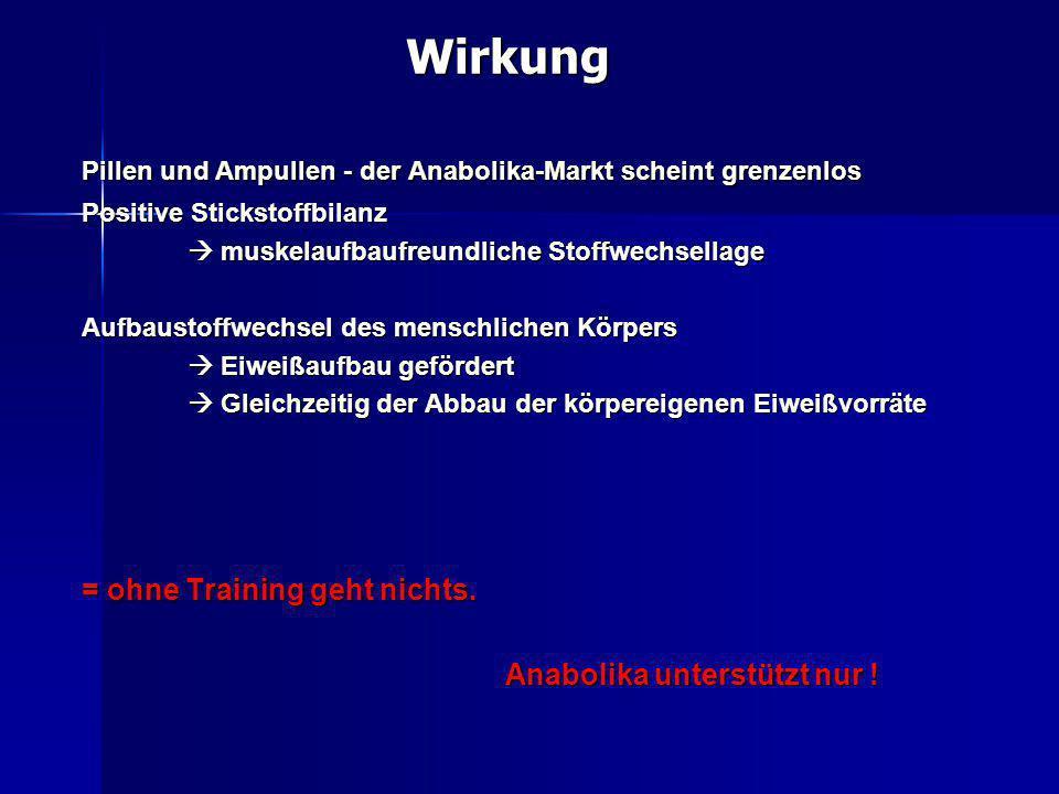 Wirkung = ohne Training geht nichts. Anabolika unterstützt nur !