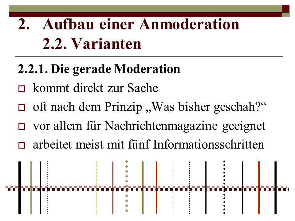 Aufbau einer Anmoderation 2.2. Varianten