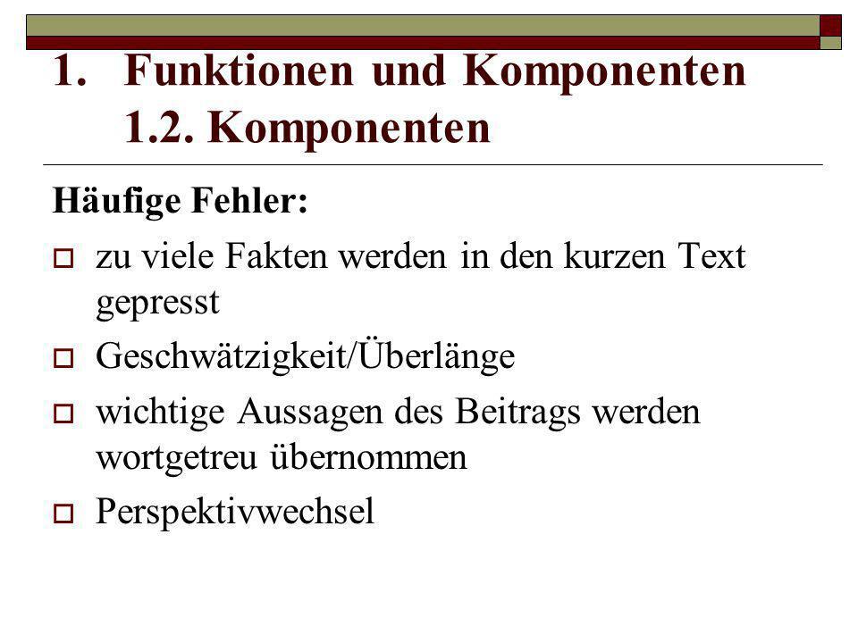 Funktionen und Komponenten 1.2. Komponenten