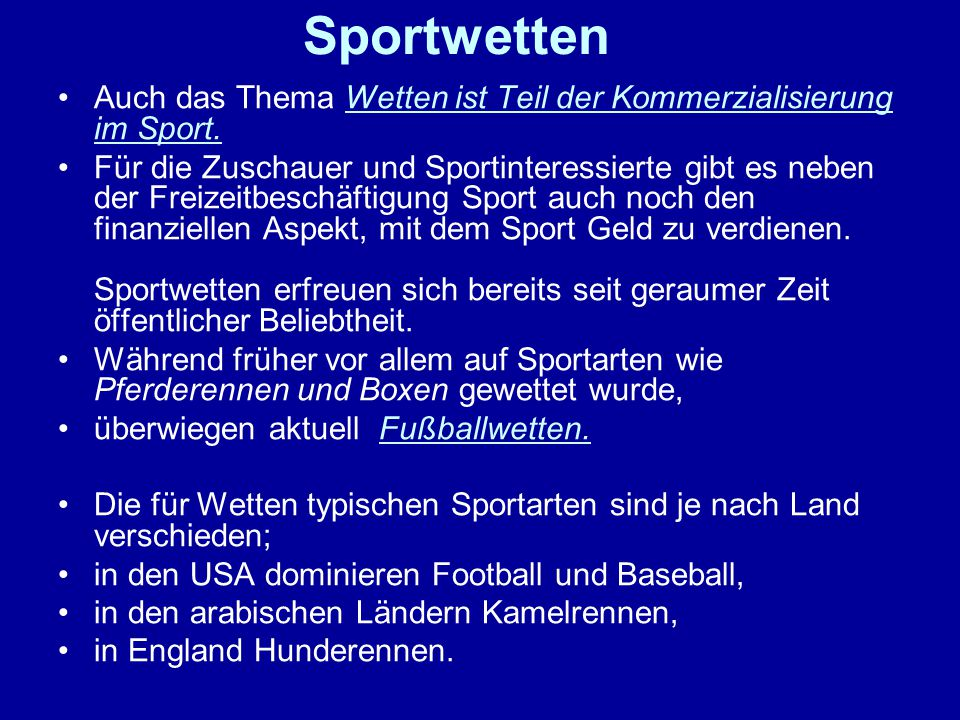 Sportwetten Auch das Thema Wetten ist Teil der Kommerzialisierung im Sport.