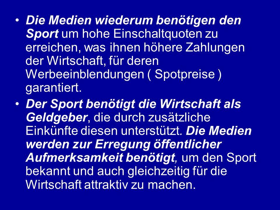 Die Medien wiederum benötigen den Sport um hohe Einschaltquoten zu erreichen, was ihnen höhere Zahlungen der Wirtschaft, für deren Werbeeinblendungen ( Spotpreise ) garantiert.