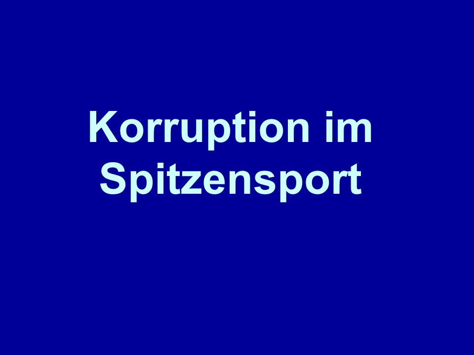 Korruption im Spitzensport
